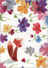 Canvas print  Fox in a sea of flowers - Aurelie Blanz