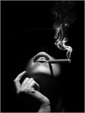 Premium poster Woman smoking a cigar