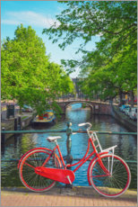 Acrylic print  Red bicycle in a canal of Amsterdam - George Pachantouris
