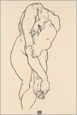 Canvas print  Cowering act with bowed head - Egon Schiele