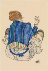 Premium poster  Back view of a sitting woman - Egon Schiele