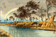 Canvas print  Rainbow at Hatta in Kaga province - Kawase Hasui