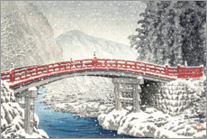 Acrylic print  Shinkyo bridge in Nikko under the snow - Kawase Hasui