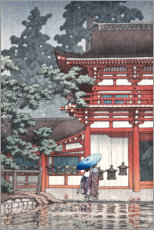 Canvas print  Light rain on a temple - Kawase Hasui