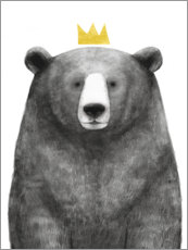 Wood print  Royal bear - Victoria Borges