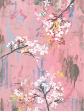 Aluminium print  Cherry blossoms on pink - Melissa Wang