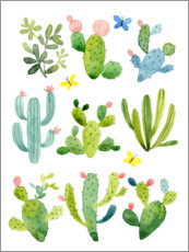 Canvas print  Happy cactuses - Jane Maday