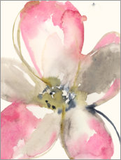 Wood print  Magenta petals I - Jennifer Goldberger