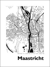 Wood print  Map of Maastricht - 44spaces