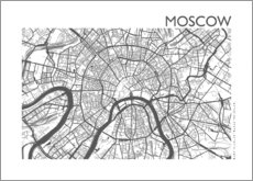 Aluminium print  City map of Moscow - 44spaces