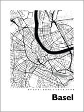 Acrylic print  City map of Basel - 44spaces