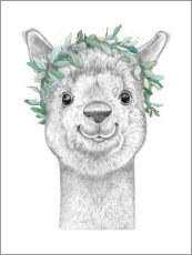 Acrylic print  Alpaca with wreath - Nikita Korenkov