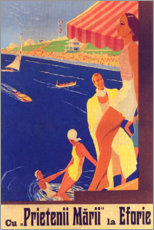 Premium poster  With the friends by the sea (Romanian) - Travel Collection