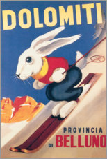 Wood print  Rabbit on skis, Dolomiti (Italian) - Travel Collection