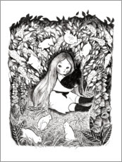 Wood print  Rabbit Girl - Michelle Beech