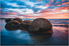 Acrylic print  Sunset at Moeraki Boulders in New Zealand - Igor Kondler