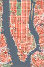 Premium poster City plan of New York, colorful