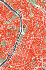 Premium poster City map of Paris, colorful