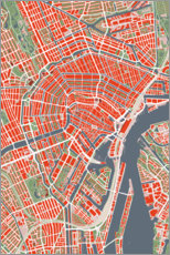 Premium poster  Colourful city map of Amsterdam - PlanosUrbanos