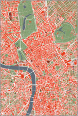 Premium poster City map of London, colorful