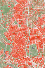 Premium poster City map of Madrid, colorful