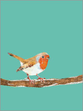 Premium poster  Robin on a branch - Kerstin Ax