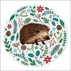 Premium poster  Christmas hedgehog - James Newman Gray