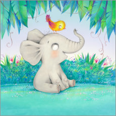 Acrylic print  Elephant with a little friend - Ela Jarzabek