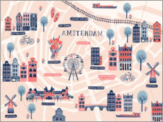 Wood print  Map of Amsterdam - Jenny Wren