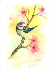 Premium poster  Tit in the spring - Gail Yerrill