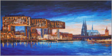 Acrylic print  Cologne view, crane houses and cathedral - Renate Berghaus