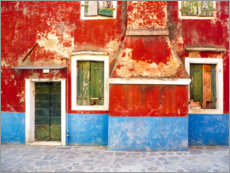 Premium poster  Burano, weathered windows and walls - Jaynes Gallery