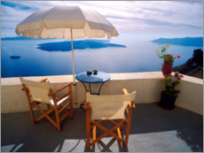 Acrylic print  Balcony with sea view in Oia - Jaynes Gallery