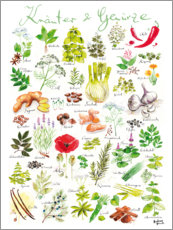 Wood print  Herbs and spices (german) - Andreas Hirsch