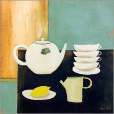 Premium poster Still life with lemon and tea