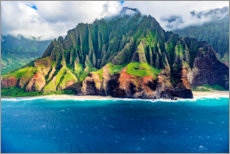 Premium poster  Kalalau Beach on the Na Pali Coast - Russ Bishop