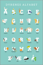 Aluminium print  Animal alphabet (Danish) - Kidz Collection