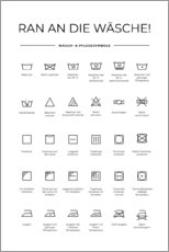 Canvas print  Washing and care symbols (German) - Typobox