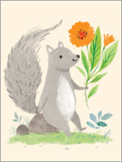 Premium poster Squirrel with flowers