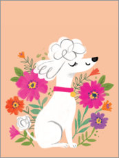 Premium poster Poodle with flowers