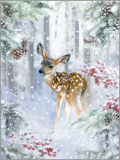 Premium poster  Fawn in the winter forest - Lisa Alderson