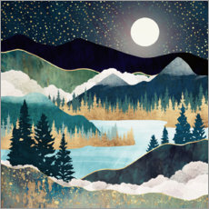 Wood print  Star Lake Landscape - SpaceFrog Designs
