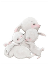 Wood print  Cuddly Bunnies - Kidz Collection