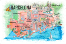 Premium poster Barcelona map with sights