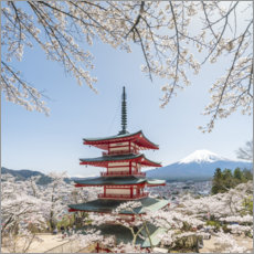 Canvas print  Japanese pagoda and mountain Fuji in spring - Jan Christopher Becke