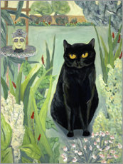 Aluminium print  Black Cat in the Garden - Deborah Eve Alastra