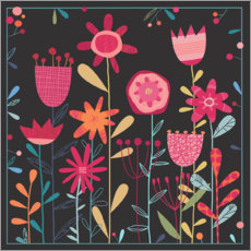 Wood print  Wild Weeds and Flowers - Nic Squirrell