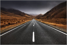 Wood print  Endless road in the highlands of New Zealand - Sven Müller