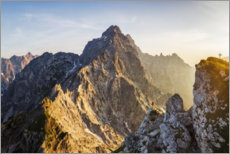 Premium poster  Lonely climber in front of Watzmann east wall - Dieter Meyrl