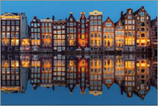 Canvas print  Amsterdam row of houses reflected in the water - George Pachantouris